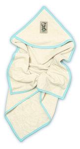 Lotties Baby Kapuzenbadetuch blau natur Bio Baumwolle Frottee 75 x 75 cm - Lotties