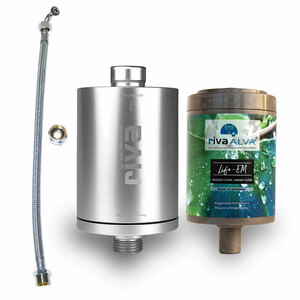 rivaALVA Life-EM Trinkwasserfilter Set | Blockaktivkohlefilter mit EM Keramik, bioganisches* Kartuschengehäuse - rivaALVA