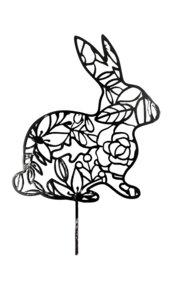 Großer Oster Hase mit Ornament Edelrost | Garten Deko aus Metall | 35 cm - Pandas Garden