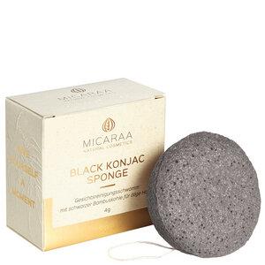 Black Konjac Face Cleansing Sponge mit Schwarzer Bambuskohle - MICARAA Natural Cosmetics