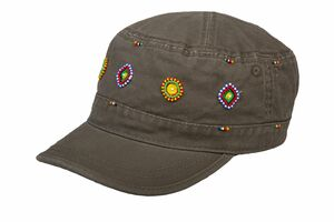 Army Caps aus Baumwolle handbestickt von Maasai Frauengruppe, Fairtrade - Africulture