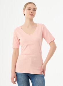 Geripptes T-Shirt aus Bio-Baumwolle mit V-Ausschnitt - ORGANICATION