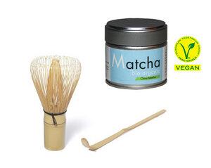 Quertee® - Bio Matcha Starter Set - Blue Style - Bio Matcha Pulver in der 30 g Dose PLUS Matcha Besen PLUS Matcha Löffel - Quertee