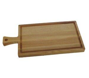 Schneidebrett mit Griff aus Kern-Esche-Holz mit Saftrille – Größe: 40 x 20 x 2 cm - ReineNatur