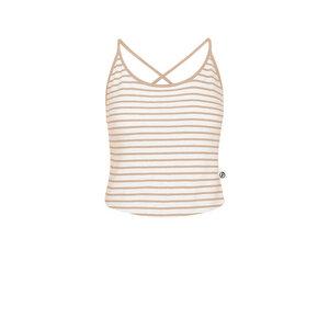 Cropped Striped Leinen Top Damen Sand - bleed