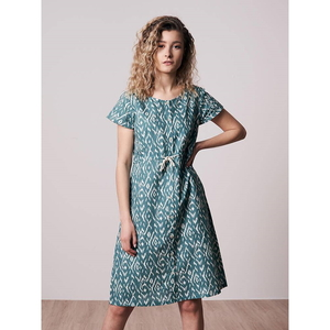 Ikatty Leinen Kleid Damen Blau - bleed
