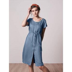 Light-Breeze Buttoned Lyocell (TENCEL) Kleid Blau - bleed