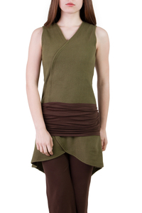 Kleid Silfo olive grün mit braunem Gürtel SET - Ajna