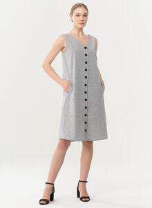 Geknöpftes Kleid aus Bio-Baumwolle mit Streifenmuster - ORGANICATION