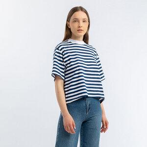 Kurzes gestreiftes T-Shirt - Rotholz