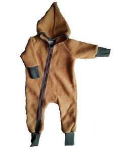 Baby Wollfleece Overall mit Reißverschluss und Zipfelkapuze - Ulalü