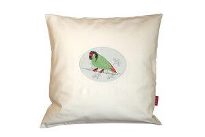 Kissen 'Verträumter Papagei', 40x40 cm, Baumwollsatin - ia io
