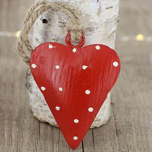 Anhänger aus Metall in Herz Design rot, weiß gepunktet - Mitienda Shop
