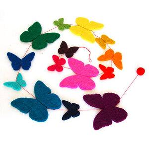 Girlande aus Filz Schmetterlinge bunt - Mitienda Shop
