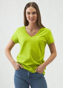 Marie Damen V-Neck Kurzarm T-Shirt Bio Baumwolle - d'Els chic essential