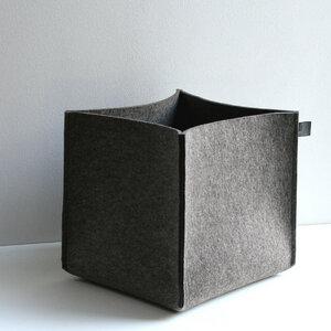 Filzkorb graubraun-meliert 5 mm 30x33x30 von tuchmacherin Aufbewahrung Filz - tuchmacherin - handgewebtes design + filz