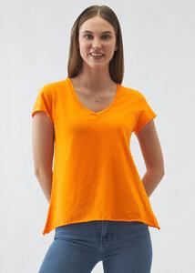 Rebecca Damen V-Neck Kurzarm T-Shirt Bio Baumwolle - d'Els chic essential