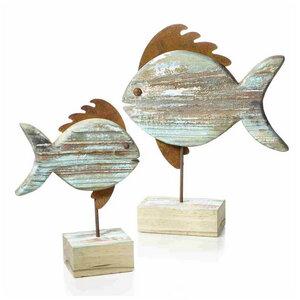 Holz/Metall Fisch auf Stand - Mitienda Shop