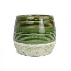 Blumentopf aus Keramik grau/grün, rund - Mitienda Shop