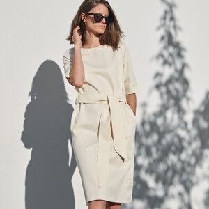 Kleid aus Gabardine mit Gürtel - Mila.Vert