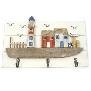Garderobe/Holzbild mit Motiv Leuchtturm - Mitienda Shop
