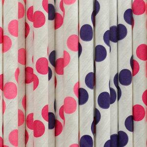 Strohhalme aus Papier 'Mix Punkte rosa, himbeer & lila' - Green Mood