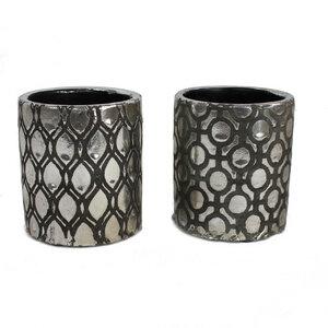 Blumentopf Keramik silber/schwarz Muster, 2er Set - Mitienda Shop