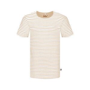 Stripe Leinen T-Shirt Sand - bleed