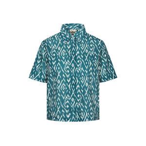 Ikatty Leinen Kurzarmhemd Damen Blau - bleed