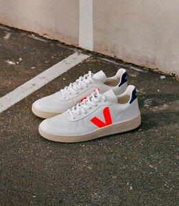 Sneaker Herren - V-10 Leather - Extra White Orange Fluo Cobalt - Veja
