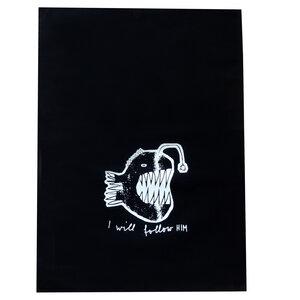 Anglerfisch, I will follow him, Geschirrtuch Bio Baumwolle, fair hergestellt, schwarz, mit Handsiebdruck - Cherry Bomb