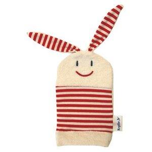 Kinder Waschhandschuh rot Hase Bio Baumwolle - Keptin-Jr.