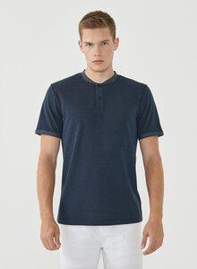 Henley-Shirt aus Bio-Baumwolle mit Punktmuster - ORGANICATION