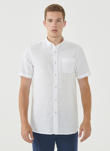 Kurzarm-Hemd aus Leinengemisch mit Brusttasche - ORGANICATION