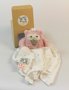 "Personalisertes Schmusetuch/ Schnuffeltuch, Greifling ""Eule"", Farbe: rosa, 100 % Baumwolle-kbA - Pat und Patty"
