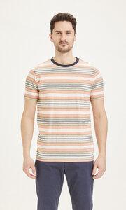 "Herren T-Shirt ""ALDER striped tee"" - GOTS/Vegan, Abricut Buff - KnowledgeCotton Apparel"