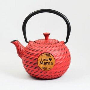 Kleine Teekanne ZiraM aus Gußeisen rot 0,6 Liter - Muttertagsgeschenk - ja-unendlich
