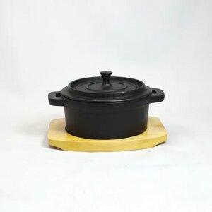 Eisenpot Bräter Cocette aus Gußeisen mit Holzuntersetzer - ja-unendlich