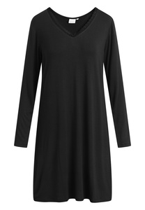 """Mittellanges Nachtkleid mit langen Ärmeln """"Jacqueline"""" black - CCDK"""
