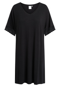 """Mittellanges Nachtkleid mit kurzen Ärmeln """"Lucille Black"""" black - CCDK"""