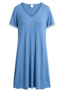 """Mittellanges Nachtkleid mit kurzen Ärmeln """"Jacqueline S/S"""" True navy AOP - CCDK"""