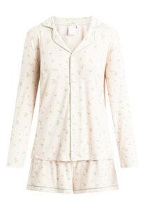"Pyjama Set, Shorty und Langarmhemd ""Joy L/S"" pale rose AOP - CCDK"