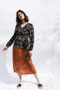 Wickelbluse Boa mit Print - ME&MAY