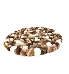 Fairtrade Filzkugelsitzkissen Kieselsteinmuster 40 cm rund - NEPALAYA