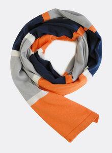 Gestrickter Schal aus Bio-Baumwolle - farbige Streifen 4172 - Djian Collection