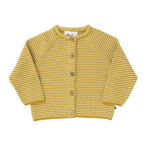 Baby Strickjacke gelb u. grau kbA Baumwolle People Wear Organic - People Wear Organic