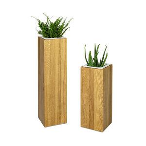 Pflanzsäule 17x17 cm Eiche massiv Handarbeit und Massivholz aus Deutschland Pflanzenständer - GreenHaus