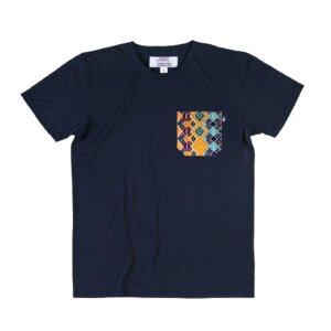 Unisex Shirt Azulejos mit handgestickter Brusttasche aus Mexiko - Someone Somewhere