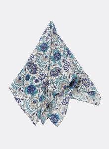 Kleines Tuch aus Bio-Baumwolle - Bandana, Blumen-Blockdruck 3208-B-S - Djian Collection