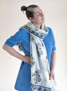 Großer Schal aus Bio-Baumwolle - Traditioneller Blockdruck - Djian Collection